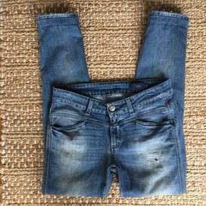 Closed Petal Star Distressed Stretch Denim Jeans F
